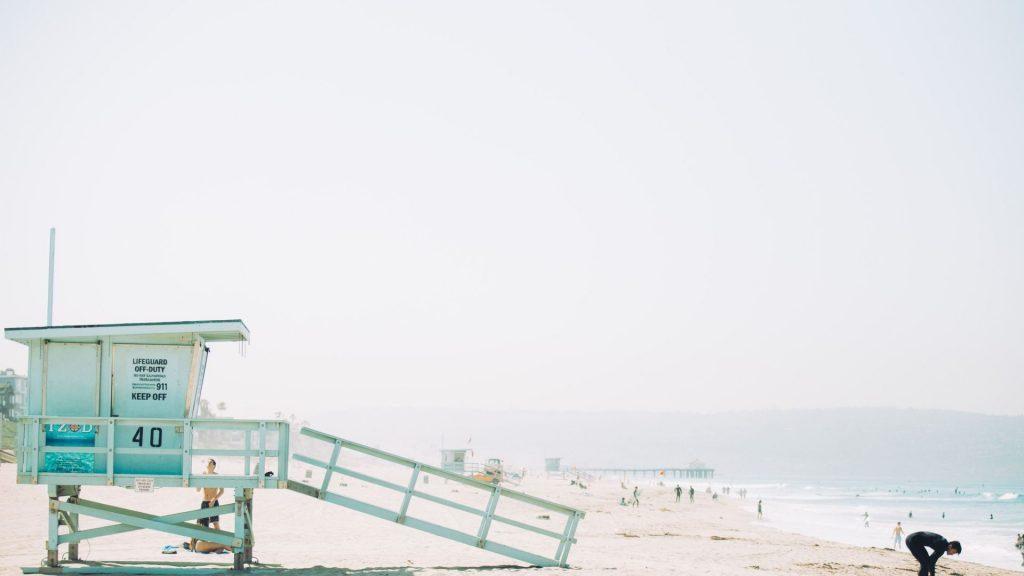 California Beach with lifeguard tower