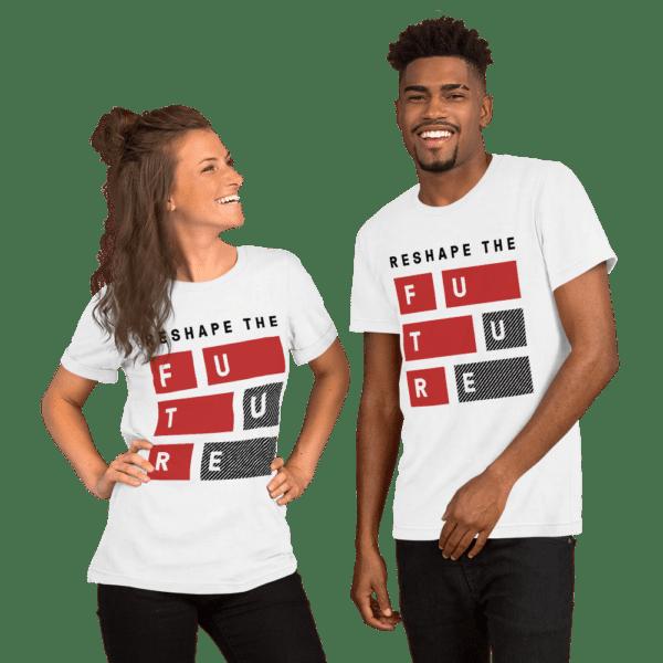ByFusion Reshape the Future unisex white short sleeve t-shirt mockup