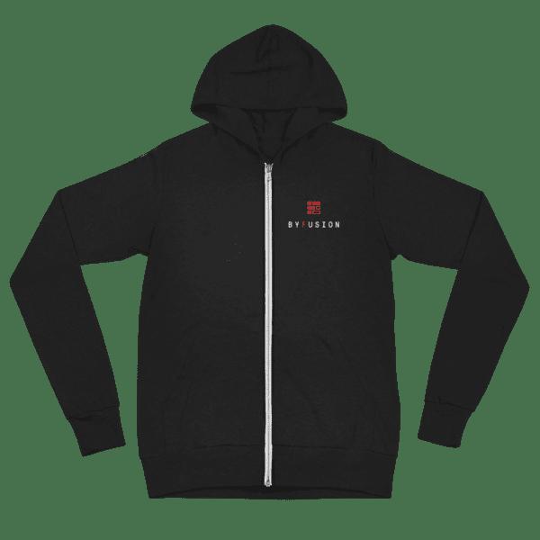 ByFusion Logo black unisex Zip up hoodie, flat