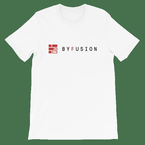 ByFusion Logo white short sleeve t-shirt, flat