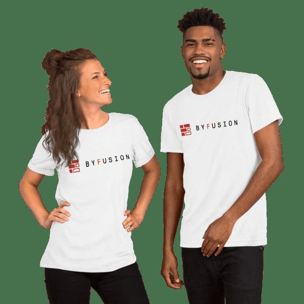 ByFusion Logo white short sleeve t-shirt mockup