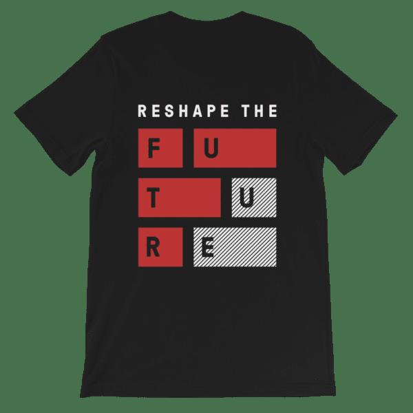 ByFusion Reshape the Future black short sleeve t-shirt, flat